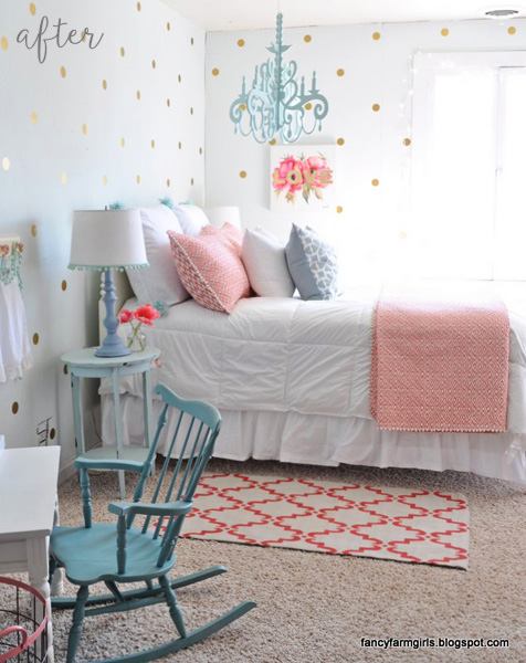 Coral and Gold Girl Bedroom
