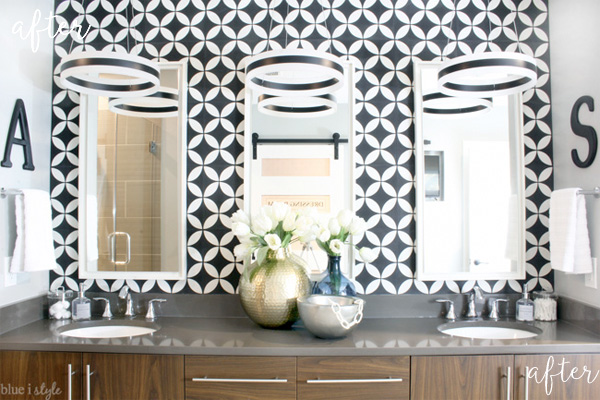 Graphic Glam Bathroom makeover