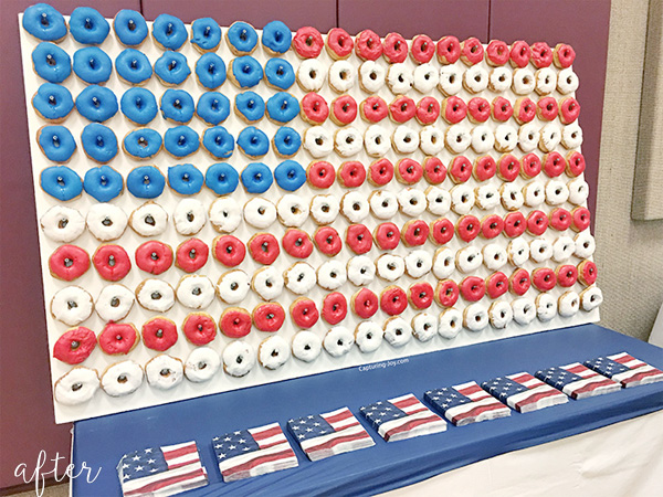 american flag donut wall