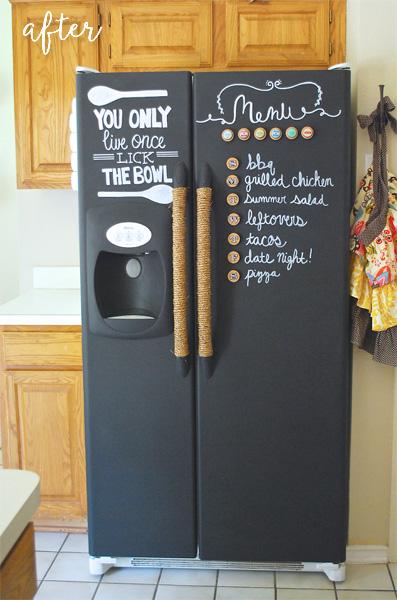 chalkboard painted fridge makeover after
