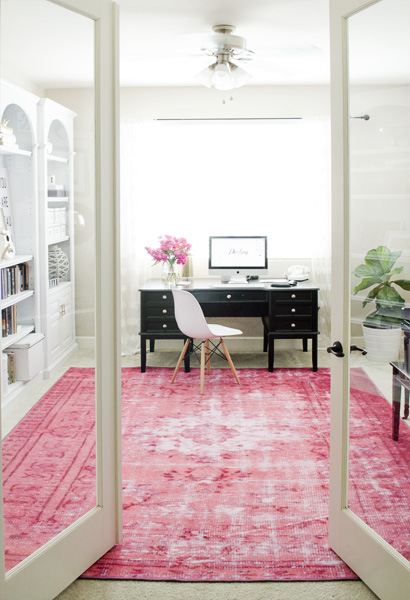 pink rug office french doors