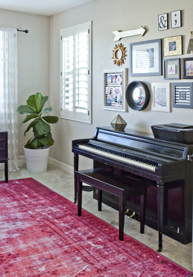pink rug piano office