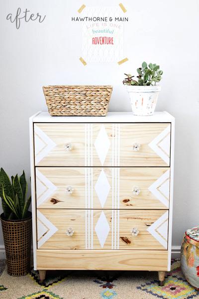 Ikea Rast Dresser White Stencil