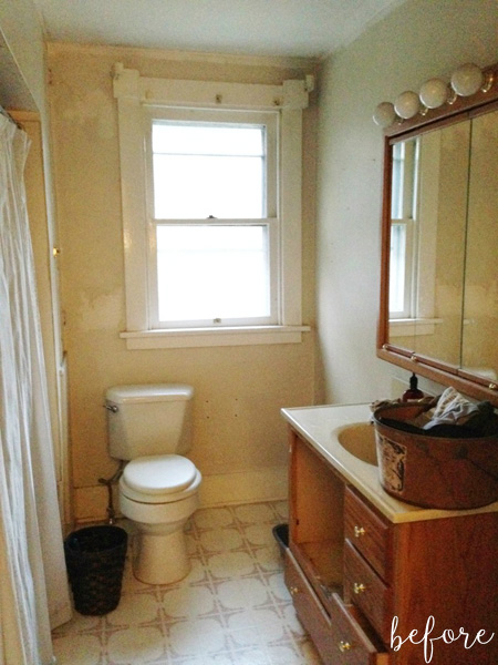 White and Black Bathroom Before