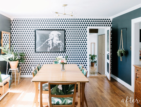 black and white triangle dining room after