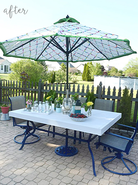 Fancy Blue and White Patio Set