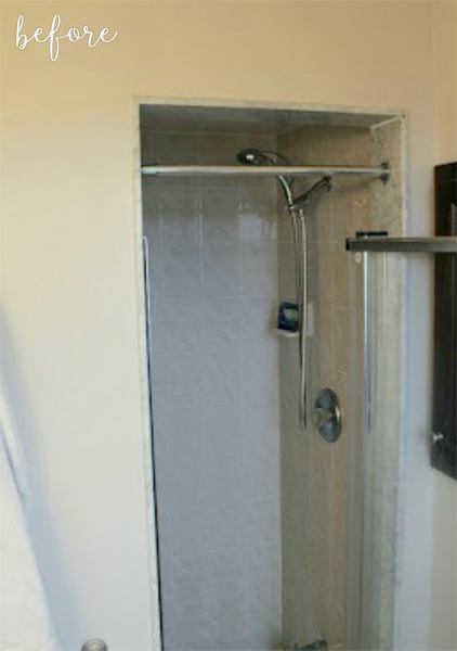 tiled shower before