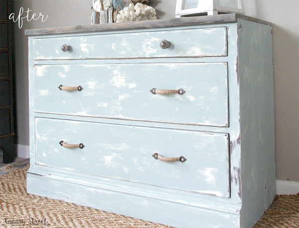 weathered coastal dresser makeover