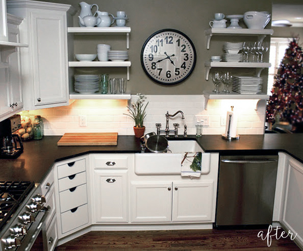 white kitchen makeover with open shelving