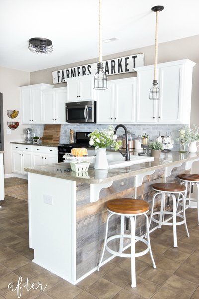 modern farmhouse kitchen makeover with reclaimed wood