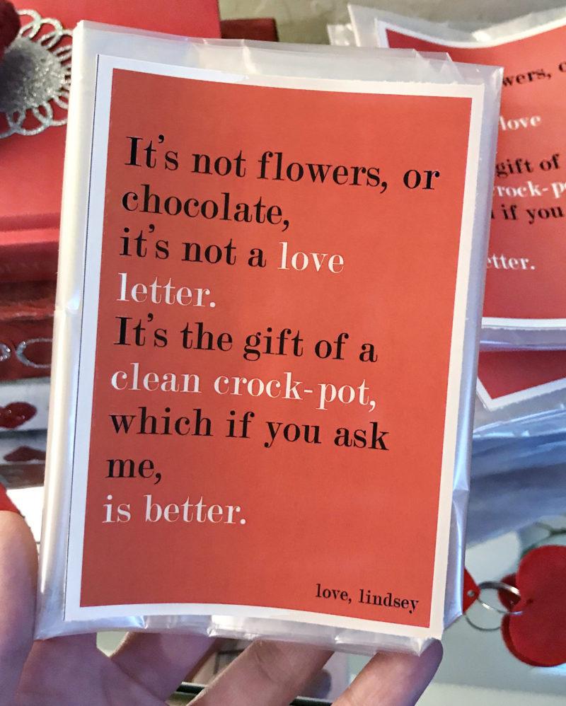 valentine Galentine pun party funny poem crockpot liner valentine idea