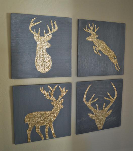 Gold Glitter Deer Silhouette Art Better After
