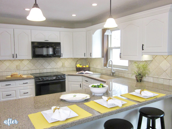 White Kitchen Yellow Accents Makeover