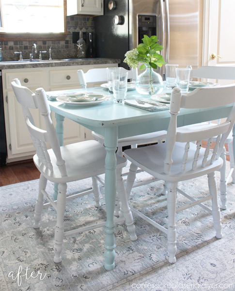 Aqua Kitchen Table Makeover
